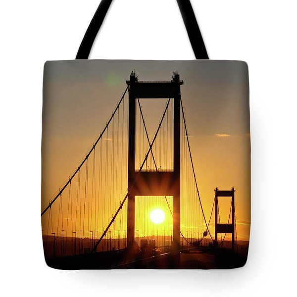 Sunset Over The Severn Tote Bag by Brian Roscorla