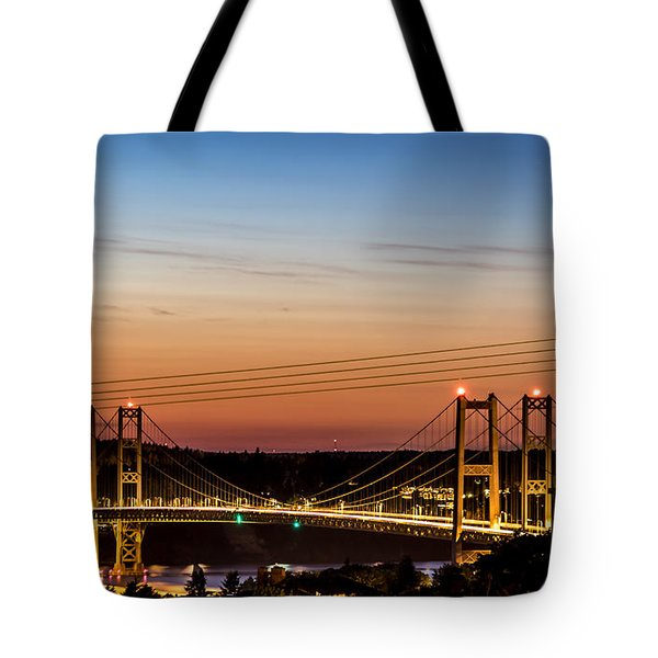 Sunset Over The Tacoma Narrows Bridges Tote Bag