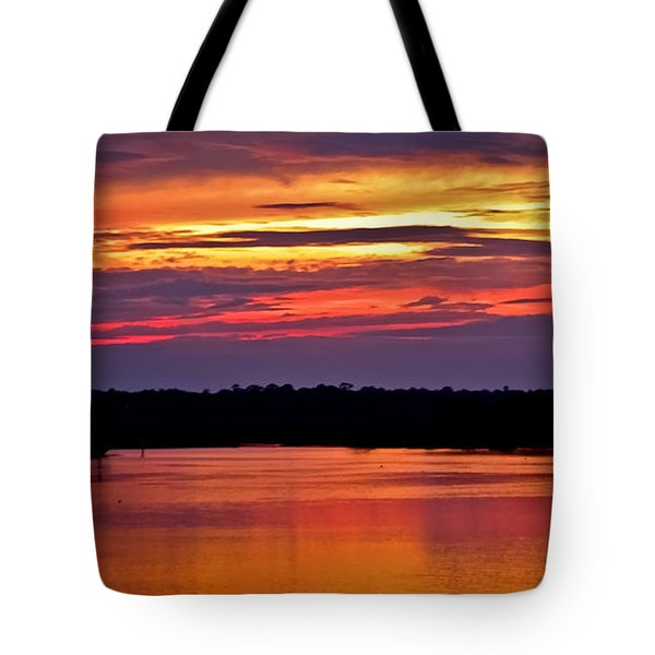 Sunset Over The Tomoka Tote Bag by DigiArt Diaries by Vicky B Fuller