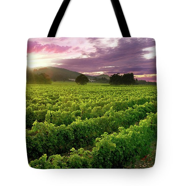 Sunset Over The Vineyard Tote Bag