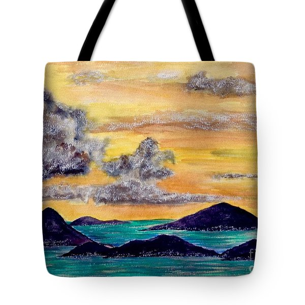 Sunset Over The Virgin Islands Tote Bag