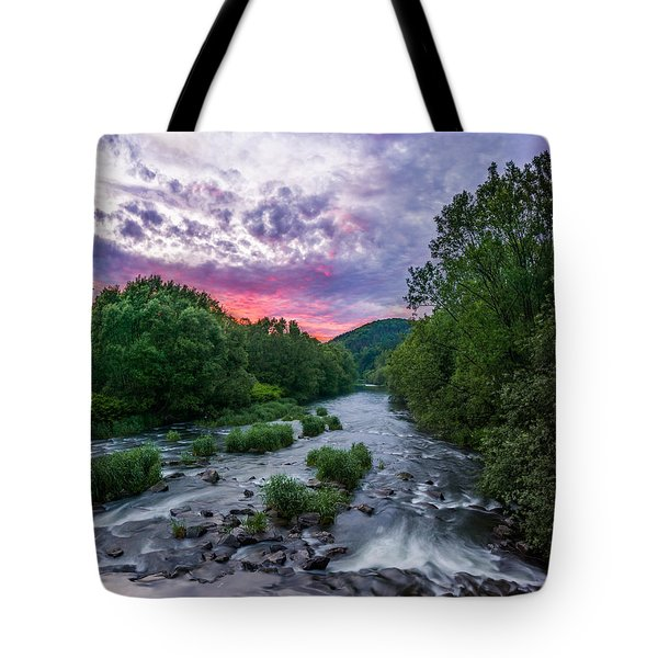 Sunset Over The Vistula In The Silesian Beskids Tote Bag