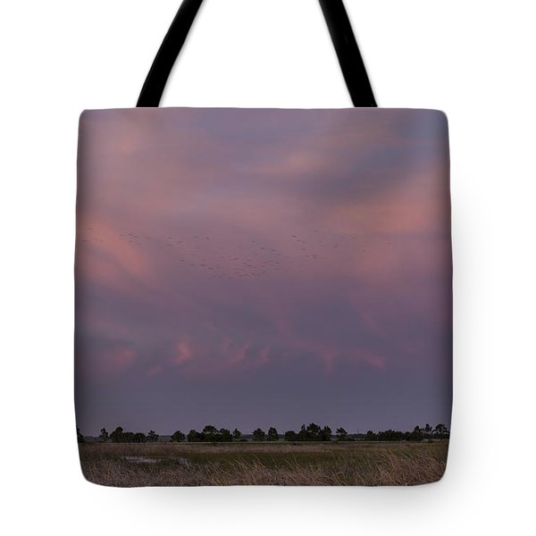 Sunset Over The Wetlands Tote Bag