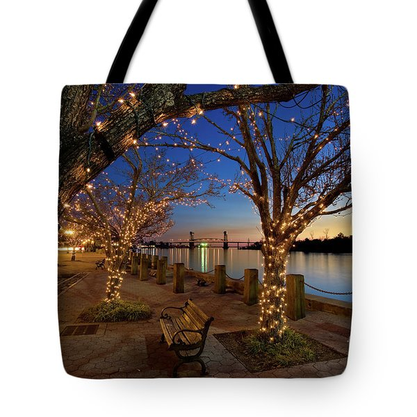 Sunset Over The Wilmington Waterfront In North Carolina, Usa Tote Bag
