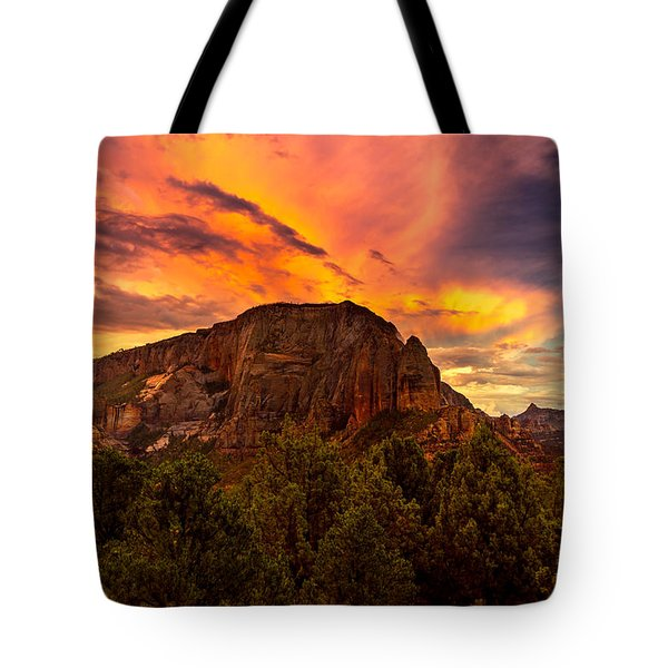 Sunset Over Timber Top Mountain Tote Bag