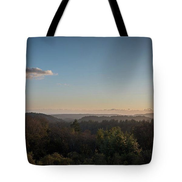 Sunset Over Top Of Dense Forest Tote Bag