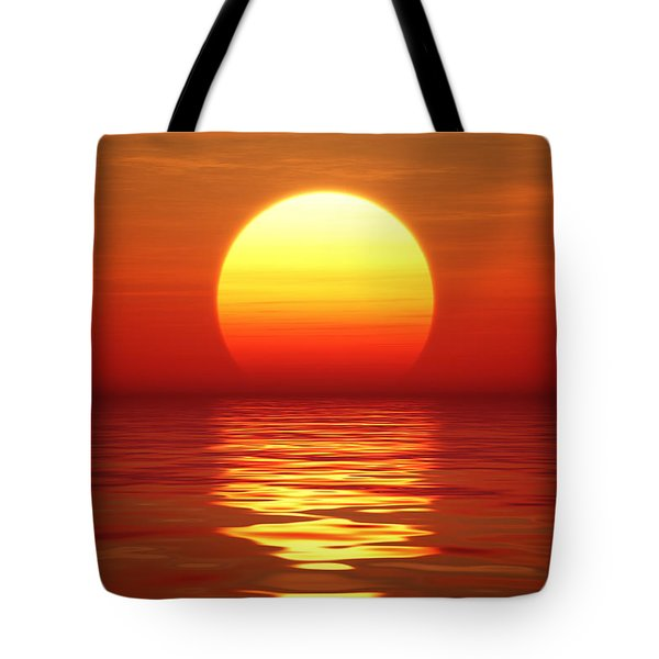 Sunset Over Tranqual Water Tote Bag