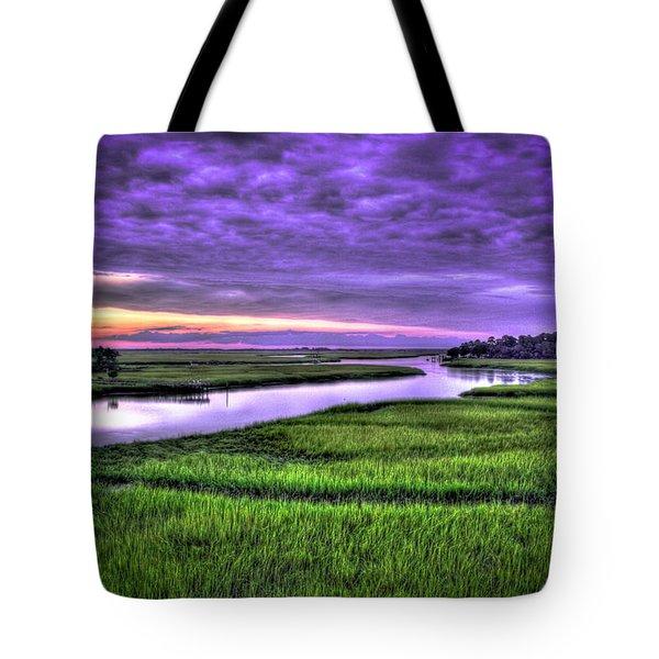 Sunset Over Turners Creek Savannah Tybee Island Ga Tote Bag