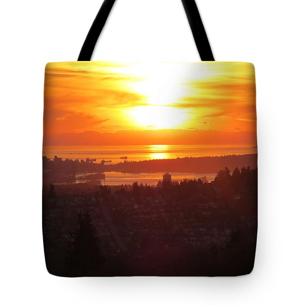 Sunset Over Vancouver Tote Bag