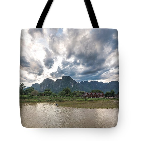 Sunset Over Vang Vieng River In Laos Tote Bag
