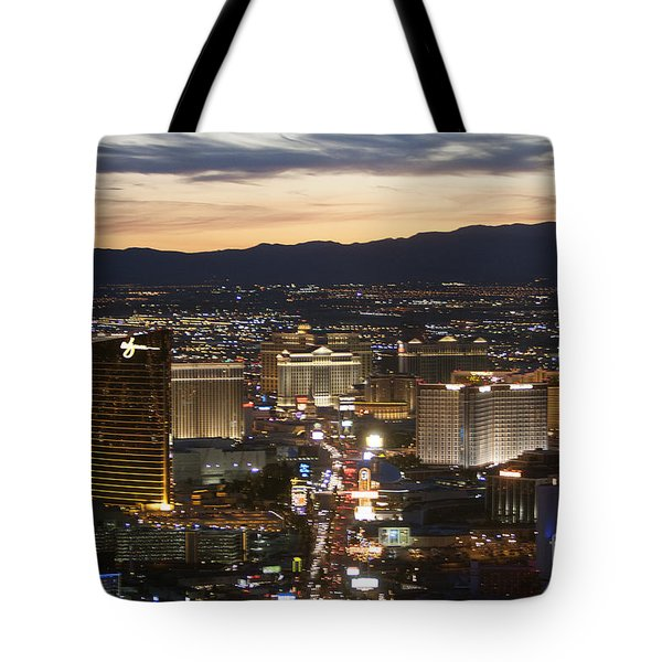 Sunset Over Vegas Strip Tote Bag