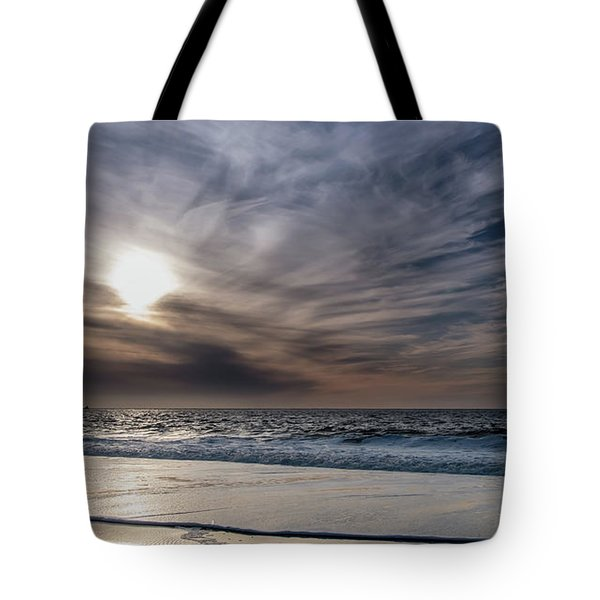 Sunset Over West Coast Beach With Silk Clouds In The Sky Tote Bag
