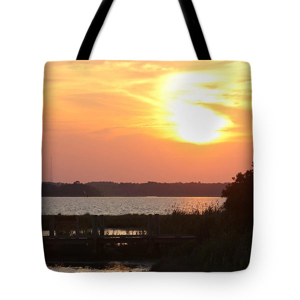 Sunset Over Wetlands Walkway Tote Bag by Robert Banach