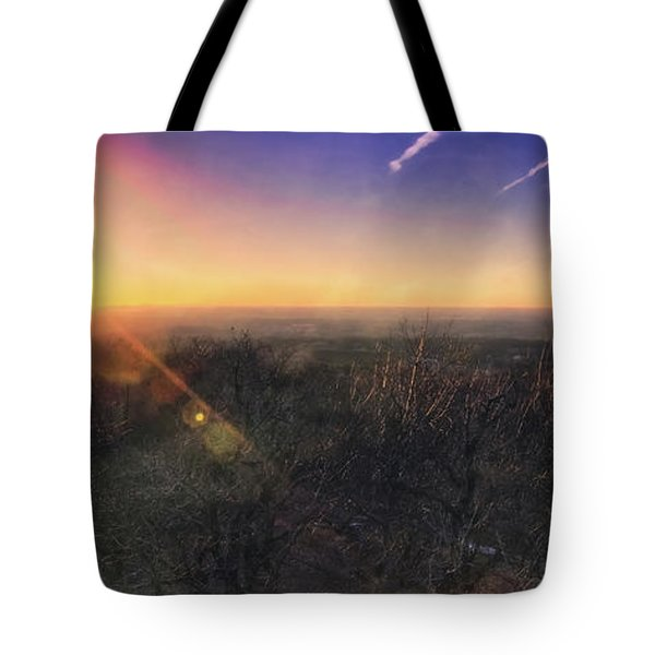 Tote Bag featuring the photograph Sunset Over Wisconsin Treetops At Lapham Peak  by Jennifer Rondinelli Reilly - Fine Art Photography