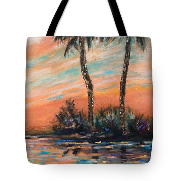 Tote Bag featuring the painting Sunset Palms by Linda Olsen