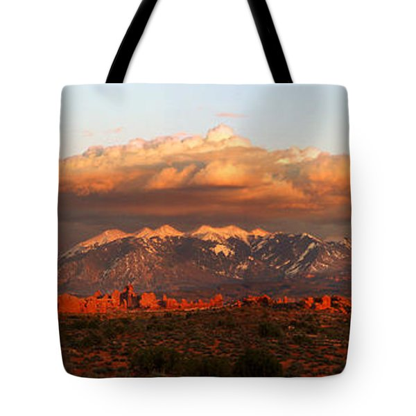 Sunset Panorama In Arches National Park Tote Bag
