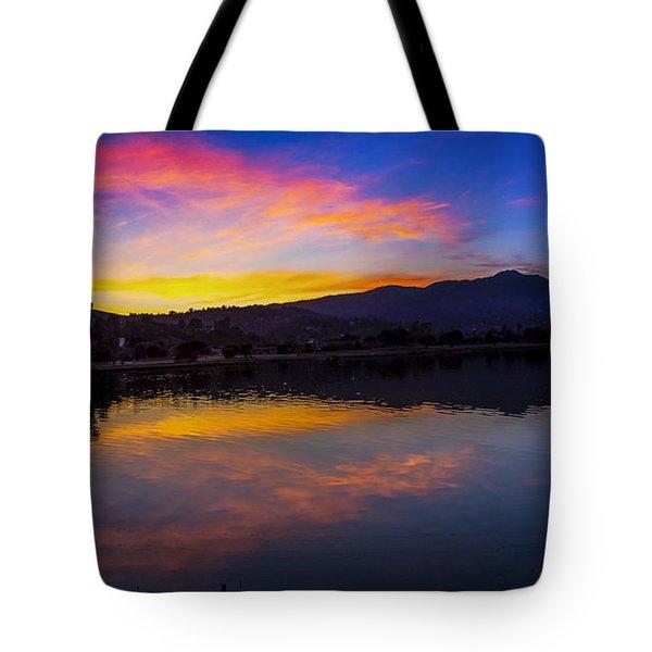 Sunset Panorama Of Mt. Tam And Richardson Bay Tote Bag