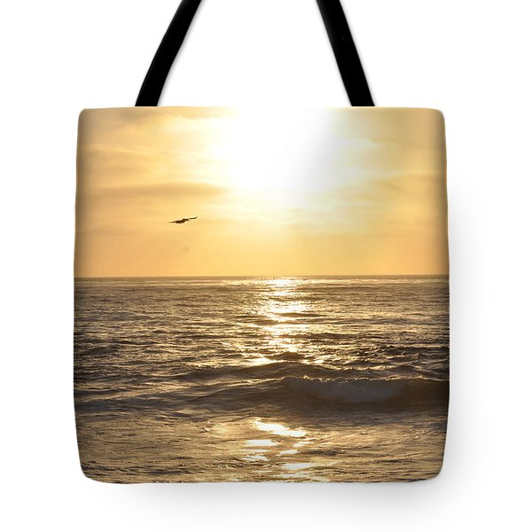 Sunset Pelican Silhouette Tote Bag