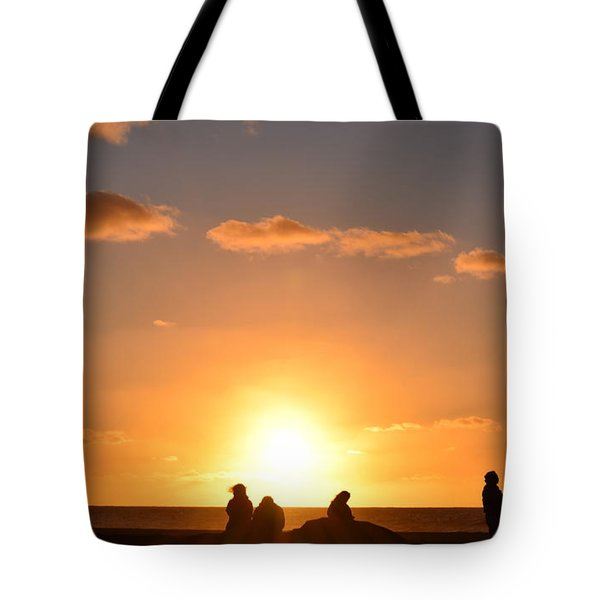 Sunset People In Imperial Beach Tote Bag by Karen J Shine