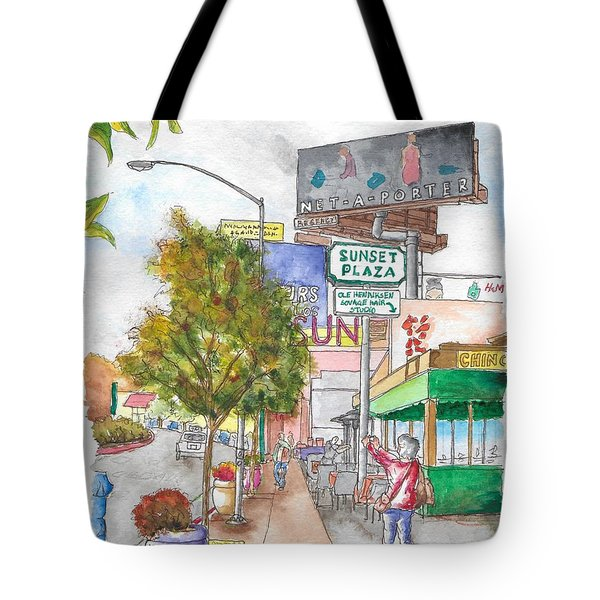 Sunset Plaza, Sunset Blvd., And Londonderry, West Hollywood, California Tote Bag