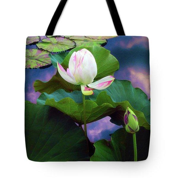 Sunset Pond Lotus Tote Bag