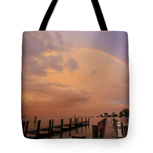 Tote Bag featuring the photograph Sunset Rainbow by Jennifer Casey
