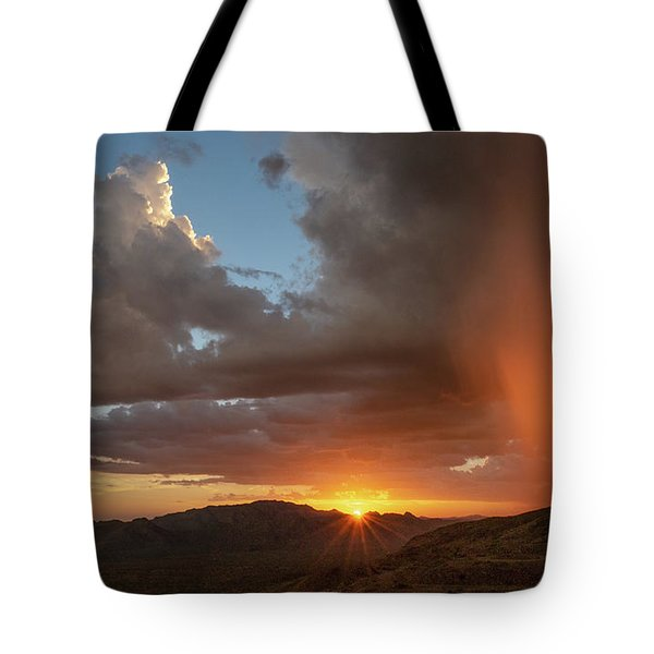 Tote Bag featuring the photograph Sunset Rainglow by Gaelyn Olmsted
