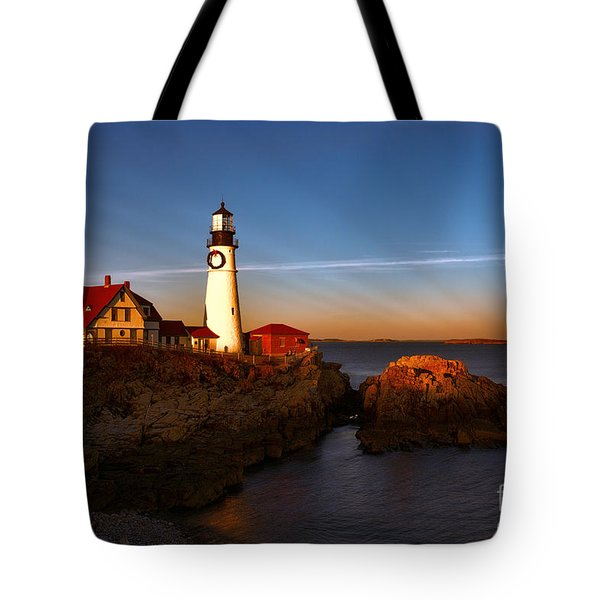 Sunset Rays At Portland Headlight Tote Bag