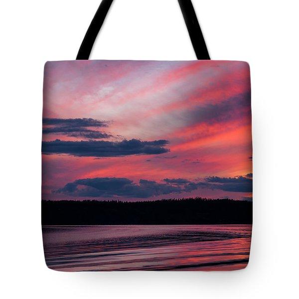 Sunset Red Lake Tote Bag