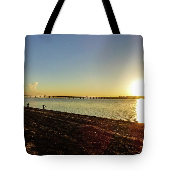 Sunset Reflecting On The Uruguay River Tote Bag