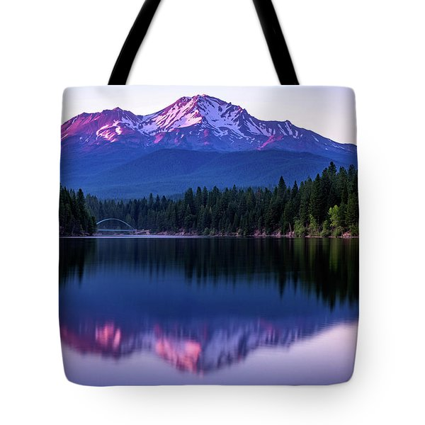 Tote Bag featuring the photograph Sunset Reflection On Lake Siskiyou Of Mount Shasta by John Hight