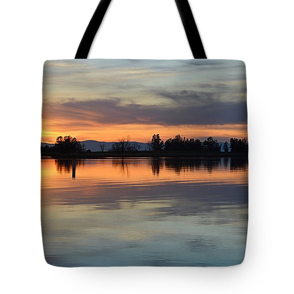 Tote Bag featuring the photograph Sunset Reflections by AJ Schibig