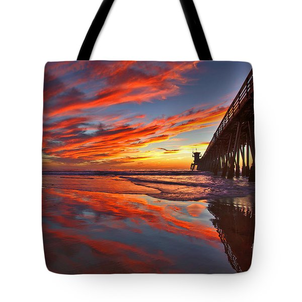 Sunset Reflections At The Imperial Beach Pier Tote Bag