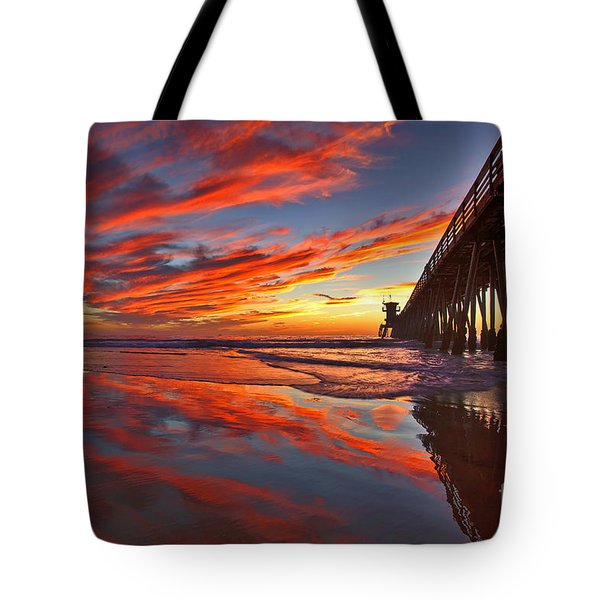 Sunset Reflections At The Imperial Beach Pier Tote Bag by Sam Antonio Photography