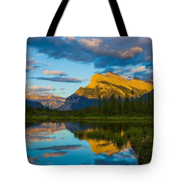 Sunset Reflections In Banff Tote Bag