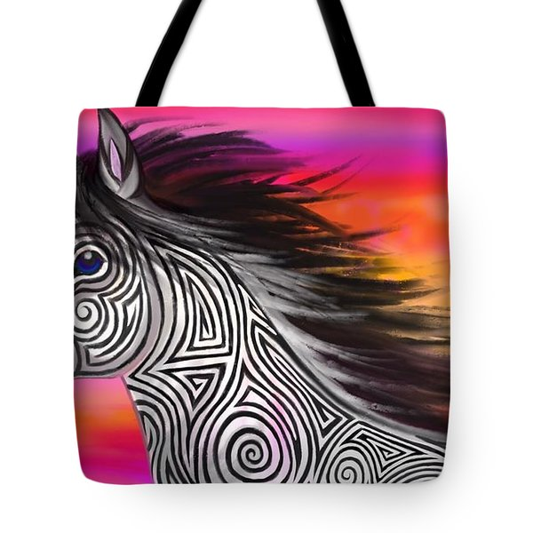 Sunset Ride Tribal Horse Tote Bag