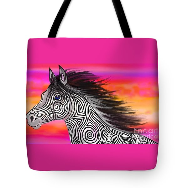Tote Bag featuring the painting Sunset Ride Tribal Horse by Nick Gustafson