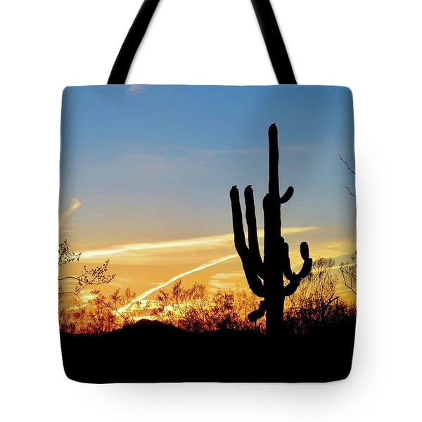 Sunset Saguaro In The Spring Tote Bag