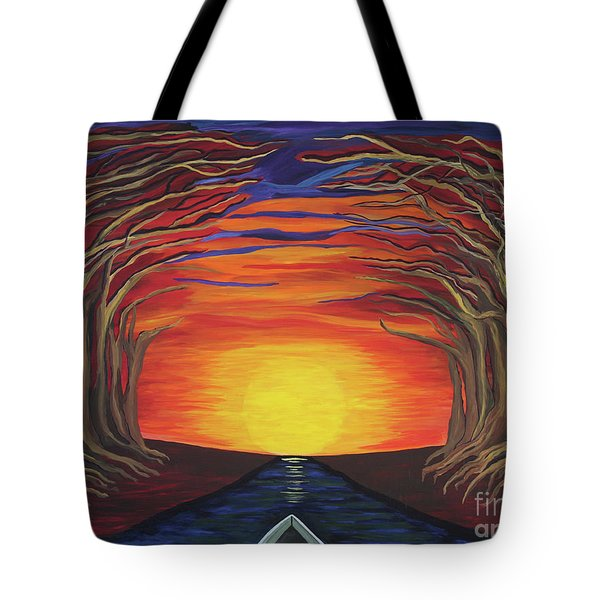 Treetop Sunset River Sail Tote Bag