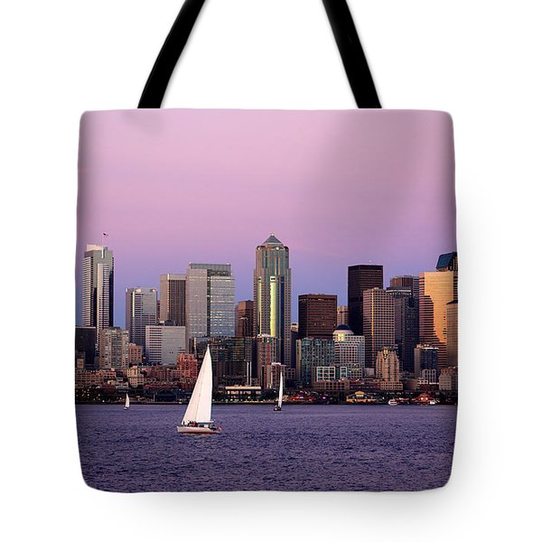 Sunset Sail In Puget Sound Tote Bag by Adam Romanowicz