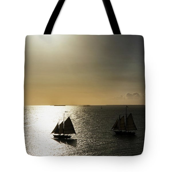 Sunset Schooners Tote Bag