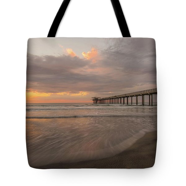 Sunset Scripps Beach Pier La Jolla San Diego Ca Image 4  Tote Bag