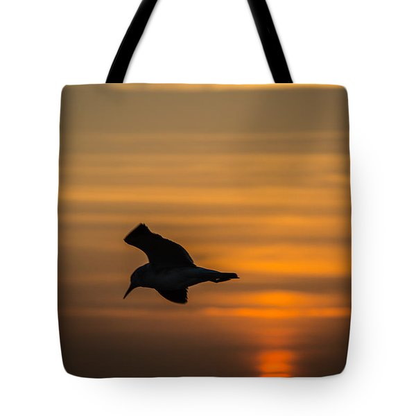 Tote Bag featuring the photograph Sunset Seagull by Gregory Daley  PPSA