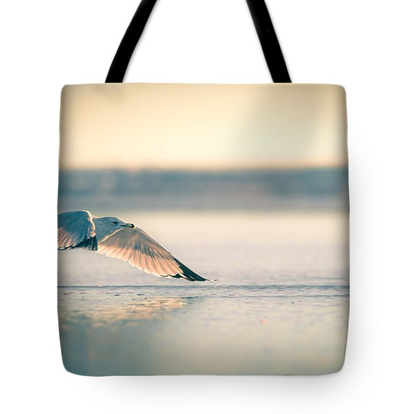 Sunset Seagull Takeoffs Tote Bag