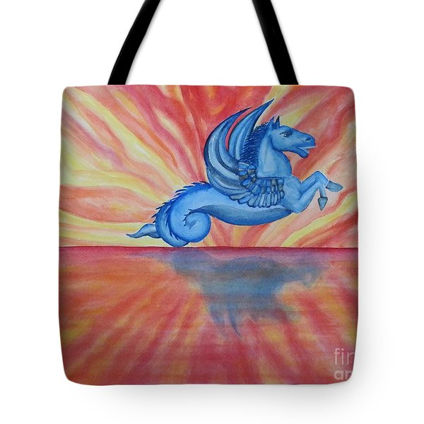 Sunset Seahorse Tote Bag