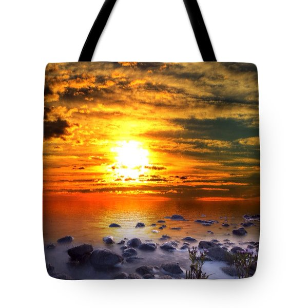 Tote Bag featuring the painting Sunset Shoreline by Mark Taylor