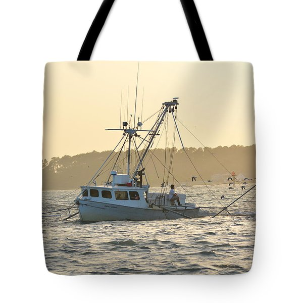 Sunset Shrimping With The Gulls Tote Bag