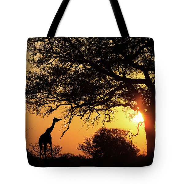 Sunset Silhouette Giraffe Eating From Tree Tote Bag