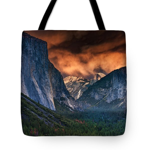 Sunset Skies Over Yosemite Valley Tote Bag