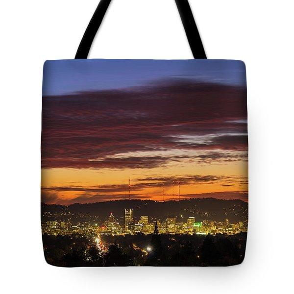 Sunset Sky Over Portland Oregon City Skyline Tote Bag by David Gn
